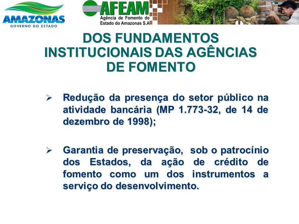 DOS FUNDAMENTOS INSTITUCIONAIS DAS AGÊNCIAS DE FOMENTO Redução da presença do setor público na atividade bancária (MP 1.773-32, de 14 de dezembro de 1