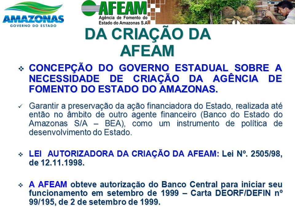 DA CRIAÇÃO DA AFEAM CONCEPÇÃO DO GOVERNO ESTADUAL SOBRE A NECESSIDADE DE CRIAÇÃO DA AGÊNCIA DE FOMENTO DO ESTADO DO AMAZONAS. CONCEPÇÃO DO GOVERNO EST