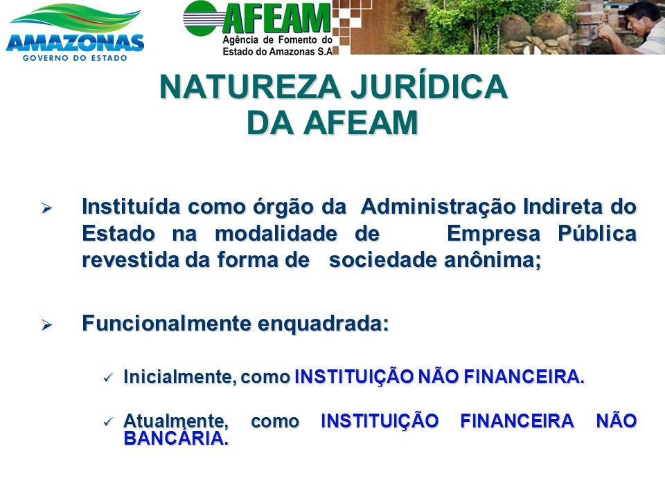 NATUREZA JURÍDICA DA AFEAM Instituída como órgão da Administração Indireta do Estado na modalidade de Empresa Pública revestida da forma de sociedade