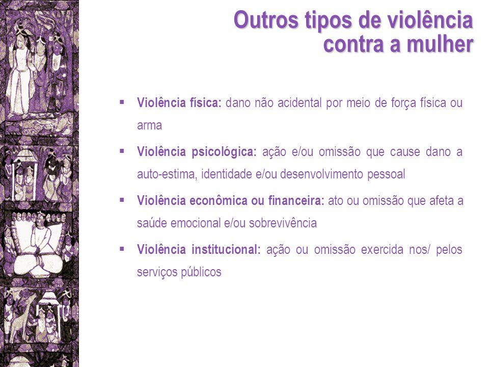 Violência física: dano não acidental por meio de força física ou arma Violência psicológica: ação e/ou omissão que cause dano a auto-estima, identidad