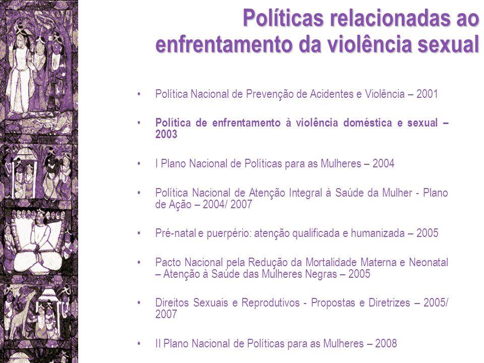 Políticas relacionadas ao enfrentamento da violência sexual Política Nacional de Prevenção de Acidentes e Violência – 2001 Política de enfrentamento à