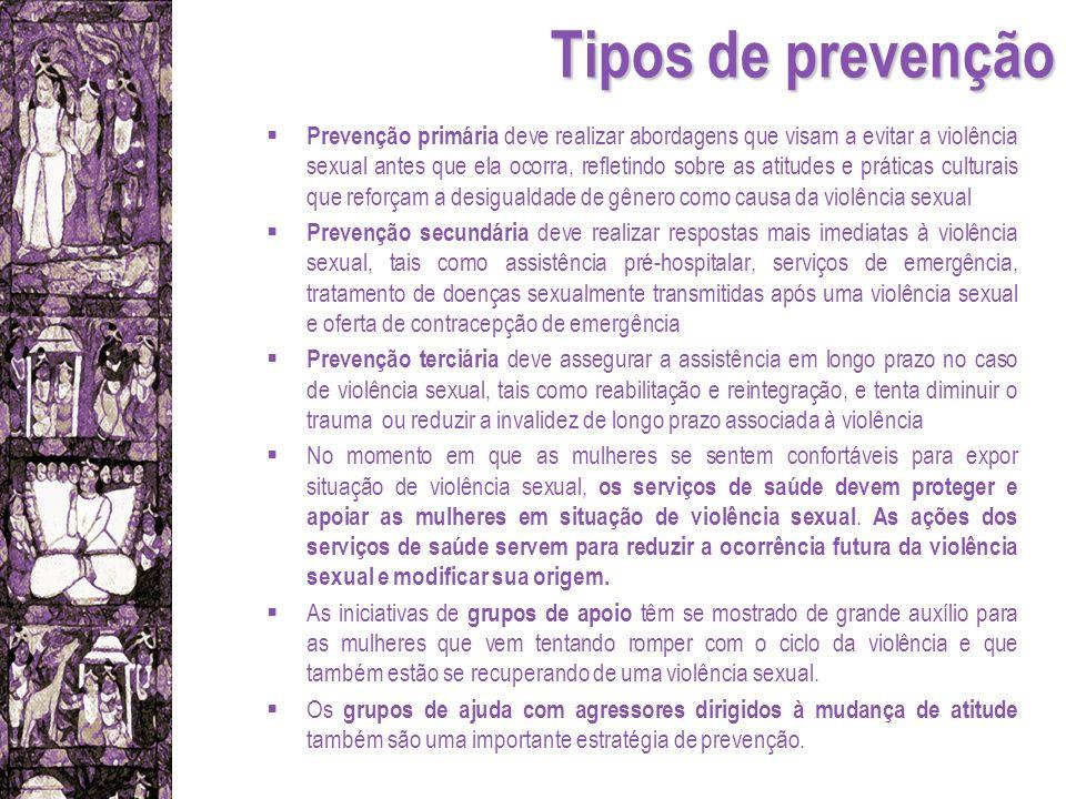 Tipos de prevenção Prevenção primária deve realizar abordagens que visam a evitar a violência sexual antes que ela ocorra, refletindo sobre as atitude