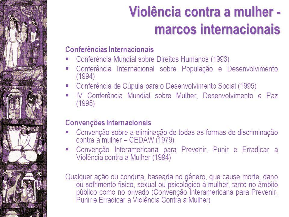 Violência contra a mulher - marcos internacionais Conferências Internacionais Conferência Mundial sobre Direitos Humanos (1993) Conferência Internacio