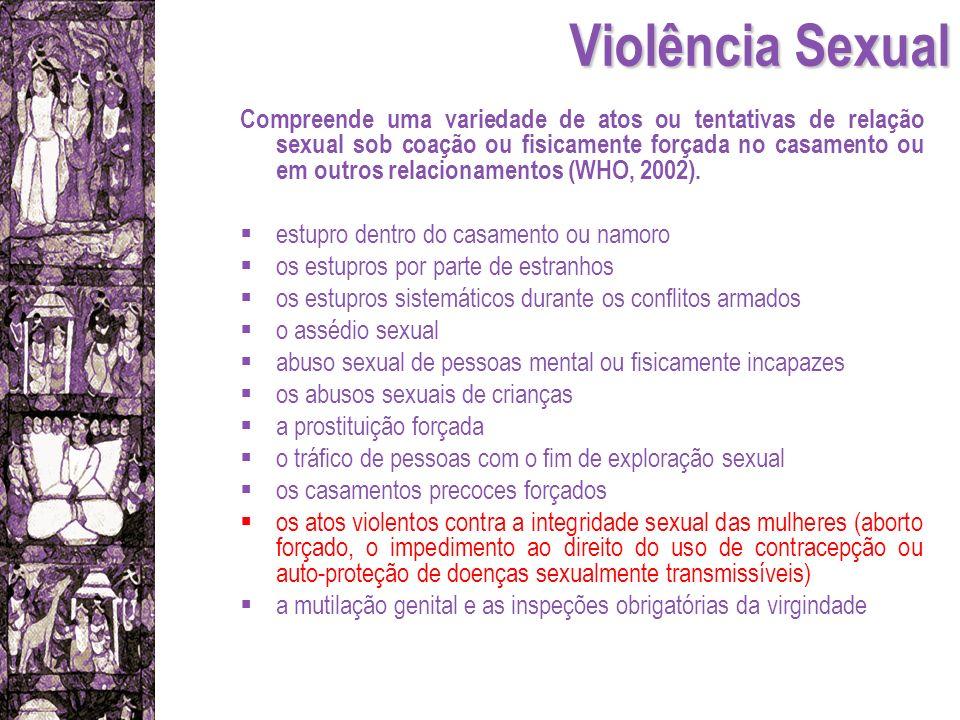 Violência Sexual Compreende uma variedade de atos ou tentativas de relação sexual sob coação ou fisicamente forçada no casamento ou em outros relacion