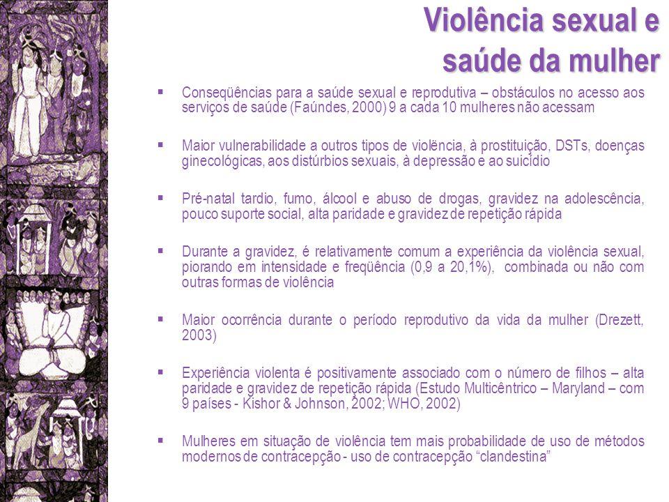 Violência sexual e saúde da mulher Conseqüências para a saúde sexual e reprodutiva – obstáculos no acesso aos serviços de saúde (Faúndes, 2000) 9 a ca