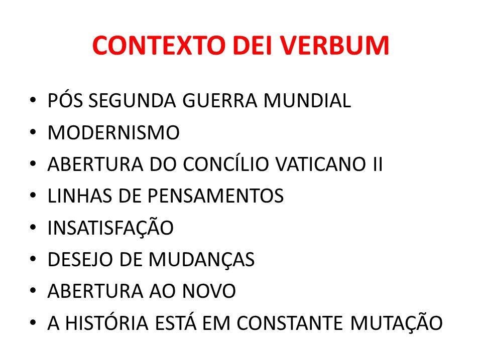 CONTEXTO DEI VERBUM PÓS SEGUNDA GUERRA MUNDIAL MODERNISMO ABERTURA DO CONCÍLIO VATICANO II LINHAS DE PENSAMENTOS INSATISFAÇÃO DESEJO DE MUDANÇAS ABERT