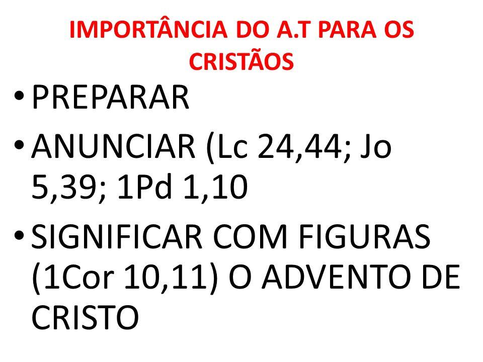 IMPORTÂNCIA DO A.T PARA OS CRISTÃOS PREPARAR ANUNCIAR (Lc 24,44; Jo 5,39; 1Pd 1,10 SIGNIFICAR COM FIGURAS (1Cor 10,11) O ADVENTO DE CRISTO