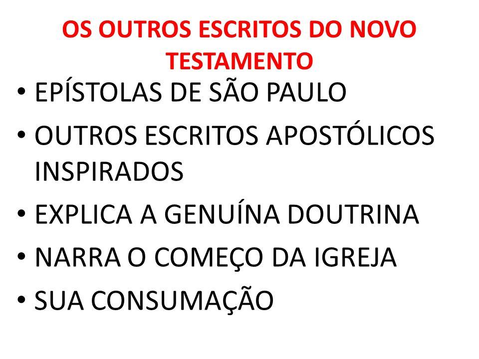 OS OUTROS ESCRITOS DO NOVO TESTAMENTO EPÍSTOLAS DE SÃO PAULO OUTROS ESCRITOS APOSTÓLICOS INSPIRADOS EXPLICA A GENUÍNA DOUTRINA NARRA O COMEÇO DA IGREJ