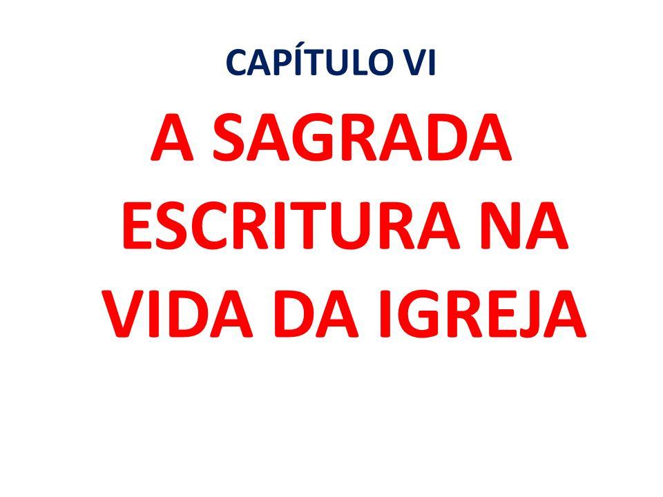 CAPÍTULO VI A SAGRADA ESCRITURA NA VIDA DA IGREJA