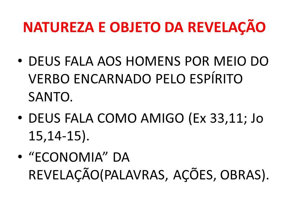 NATUREZA E OBJETO DA REVELAÇÃO DEUS FALA AOS HOMENS POR MEIO DO VERBO ENCARNADO PELO ESPÍRITO SANTO. DEUS FALA COMO AMIGO (Ex 33,11; Jo 15,14-15). ECO