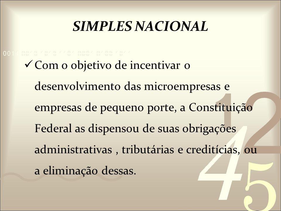 Foi criado o Sistema Integrado de Pagamento de Impostos e Contribuições das Microempresas e Empresas de Pequeno Porte (SIMPLES).