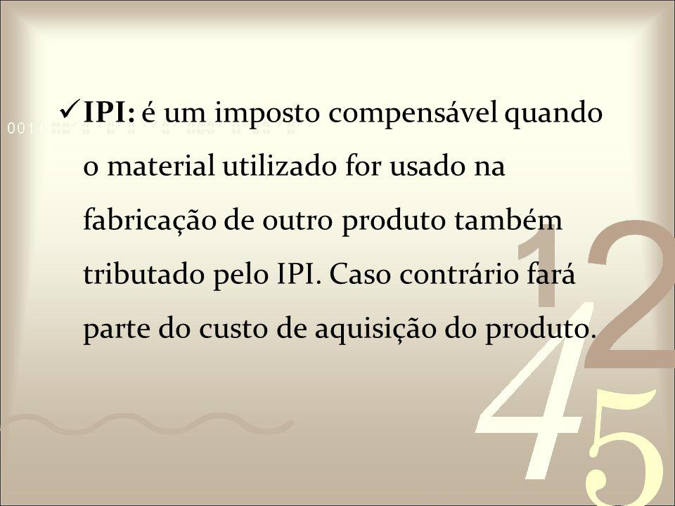 ICMS: É um imposto não cumulativo e de competência do Estado.
