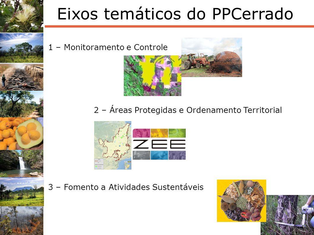 13 Eixos temáticos do PPCerrado 1 – Monitoramento e Controle 2 – Áreas Protegidas e Ordenamento Territorial 3 – Fomento a Atividades Sustentáveis