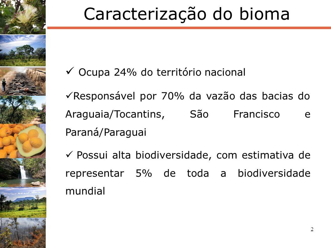 2 Caracterização do bioma Ocupa 24% do território nacional Responsável por 70% da vazão das bacias do Araguaia/Tocantins, São Francisco e Paraná/Parag