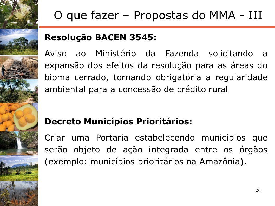 20 O que fazer – Propostas do MMA - III Resolução BACEN 3545: Aviso ao Ministério da Fazenda solicitando a expansão dos efeitos da resolução para as á