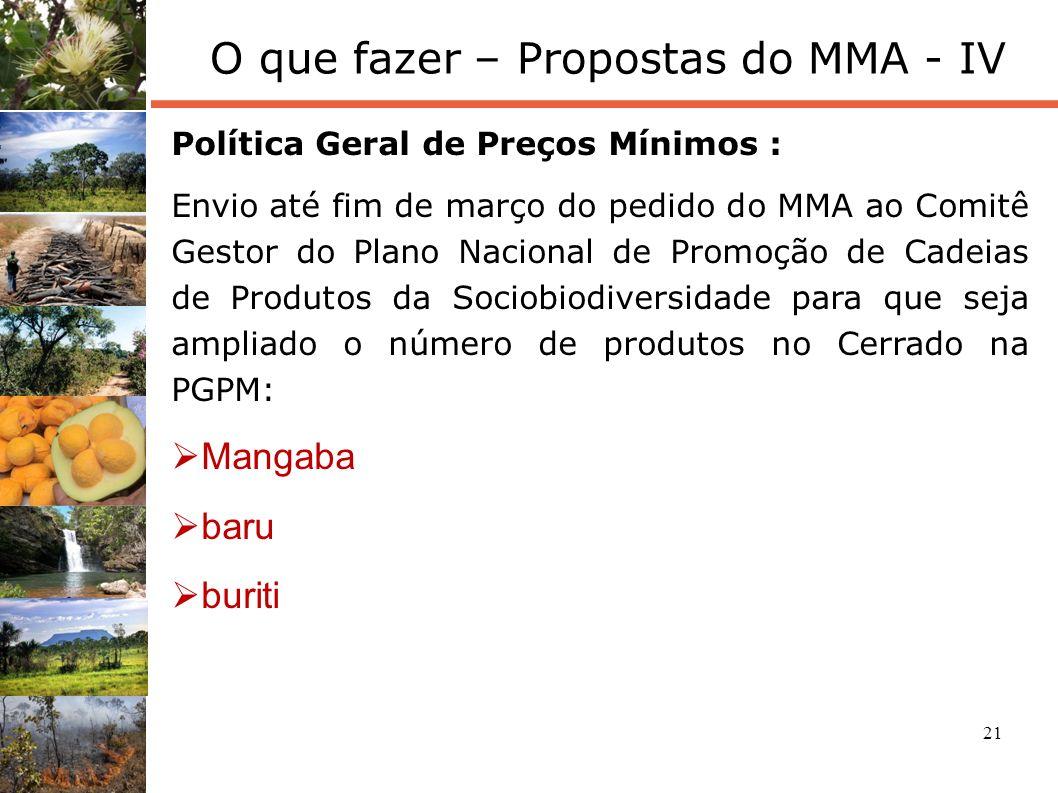 21 O que fazer – Propostas do MMA - IV Política Geral de Preços Mínimos : Envio até fim de março do pedido do MMA ao Comitê Gestor do Plano Nacional d