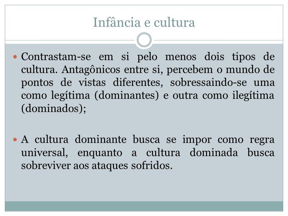 Infância e cultura O saber dominante prega uma cultura descolada, em grande medida, da realidade vivida pela maioria das crianças no Brasil.