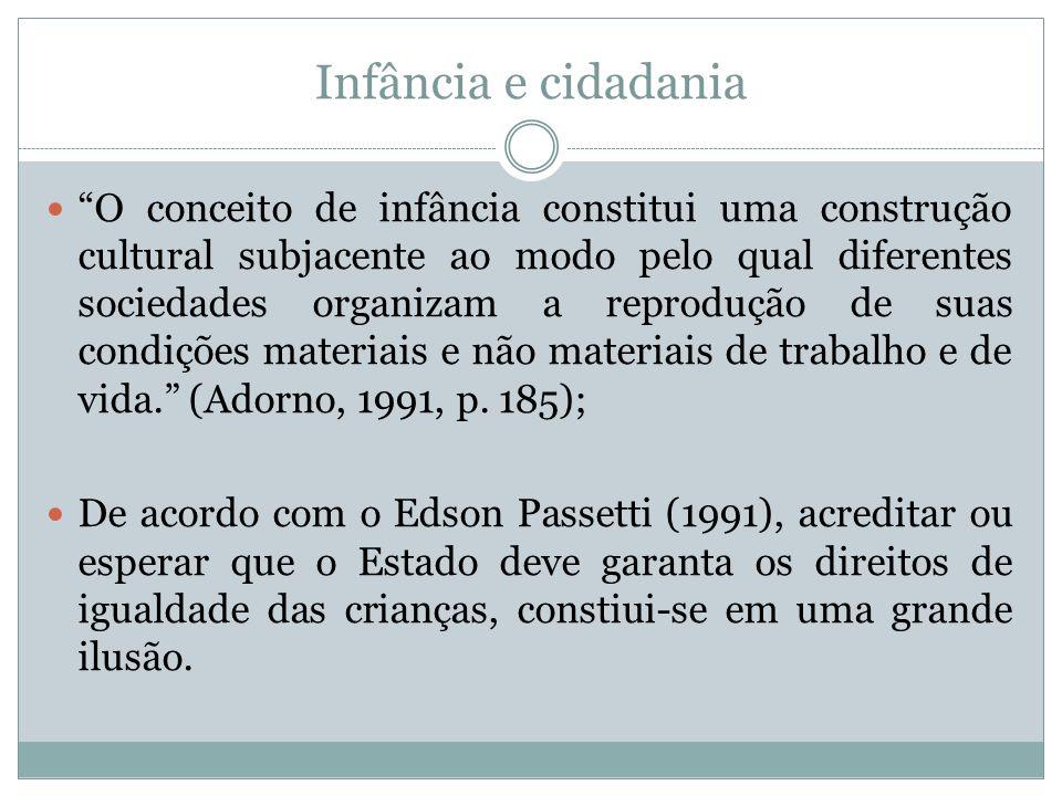 Infância e cidadania As políticas públicas voltadas para a questão da infância no Brasil datam do século XIX e foram baseadas em noções provindas da França pós- revolução de 1789.