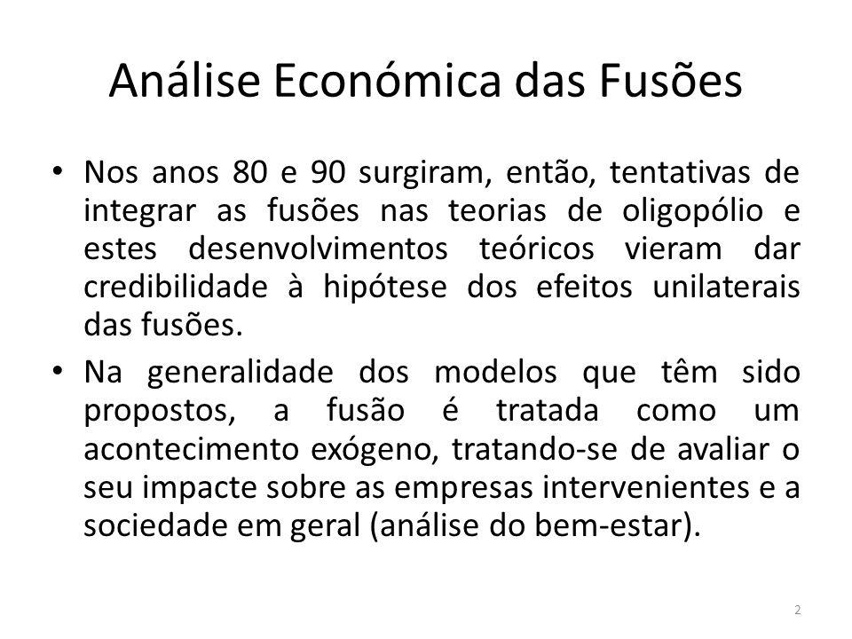 Análise Económica das Fusões Parece, portanto, claro que o modelo não tem em conta alguma caraterística fundamental das fusões.