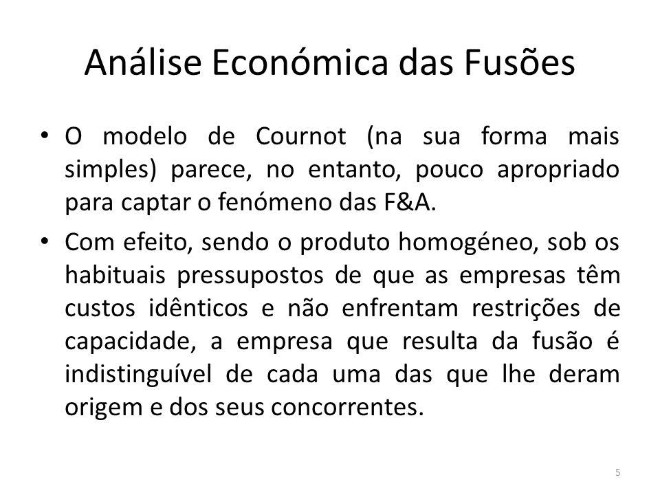 Análise Económica das Fusões Neste contexto, o impacte de uma fusão resulta exclusivamente da alteração do número de concorrentes, todos iguais, que coexistem no mercado.