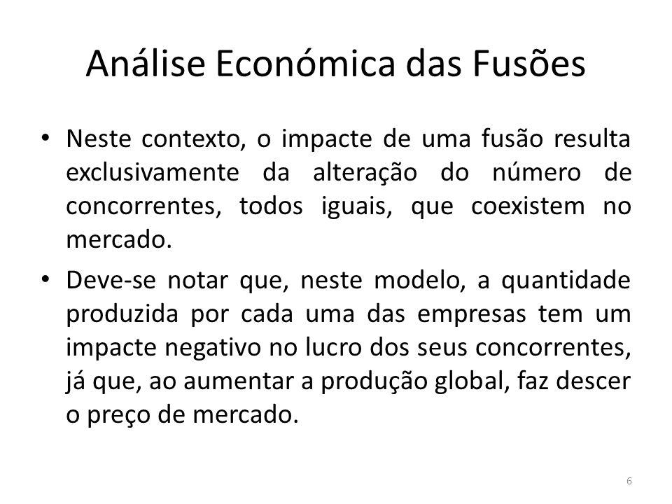 Análise Económica das Fusões Bibliografia relevante: Verga Matos e Vasco Rodrigues (2000), cap.