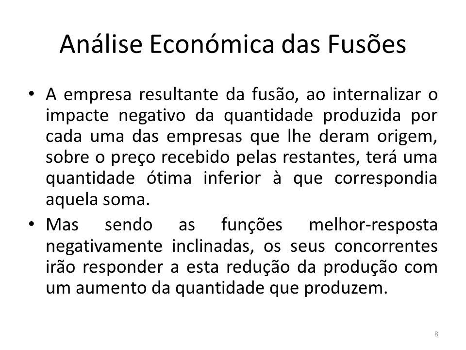 Análise Económica das Fusões Isto impede que o preço suba tanto quanto antecipado pela empresa resultante da fusão.