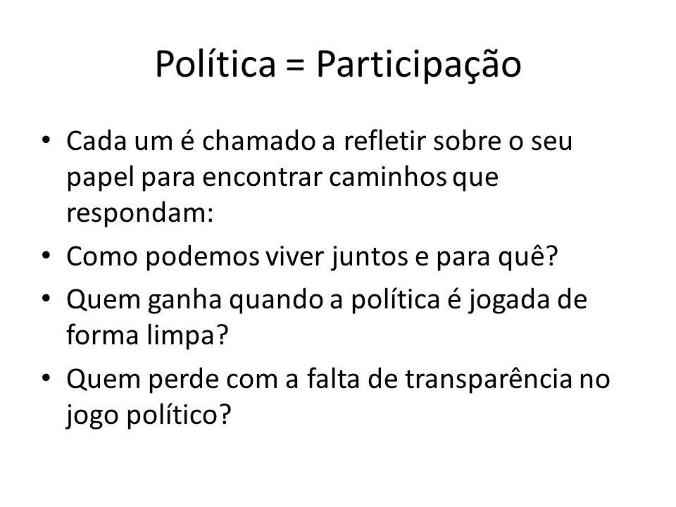 Política = Participação Cada um é chamado a refletir sobre o seu papel para encontrar caminhos que respondam: Como podemos viver juntos e para quê? Qu