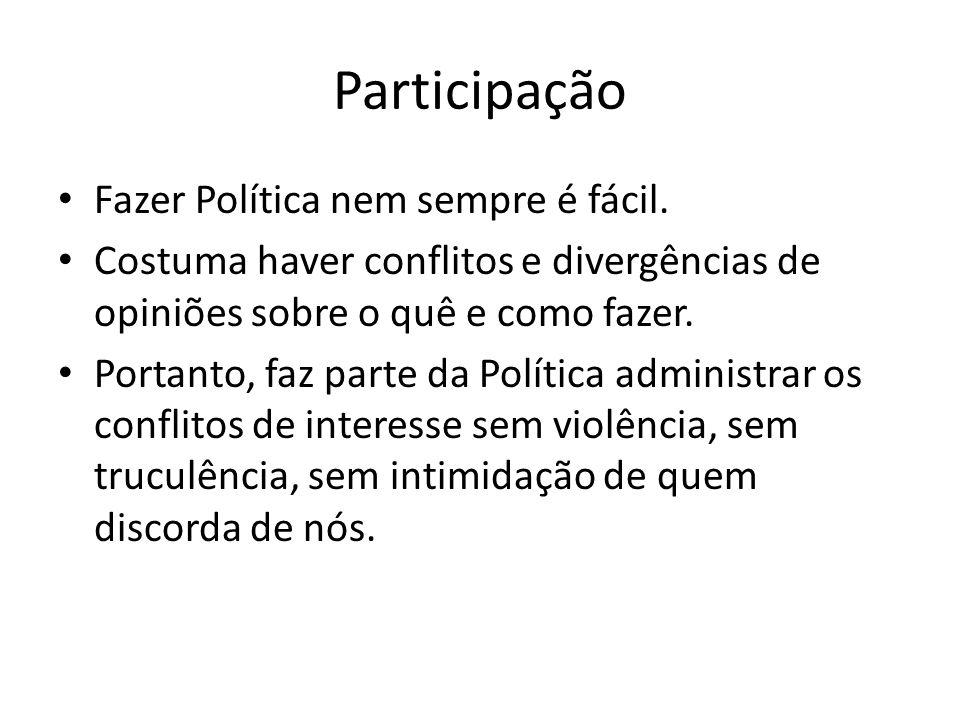 Participação Fazer Política nem sempre é fácil. Costuma haver conflitos e divergências de opiniões sobre o quê e como fazer. Portanto, faz parte da Po