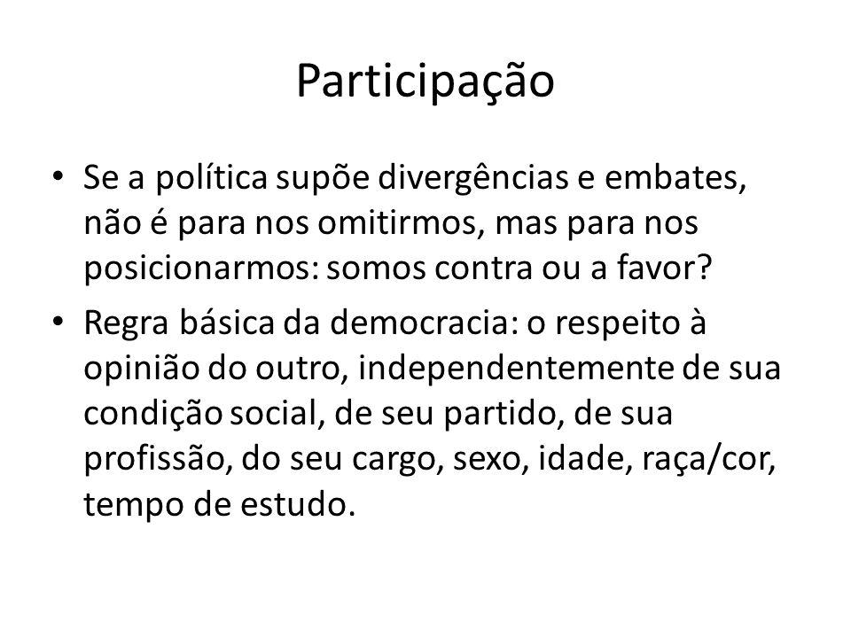 Participação Se a política supõe divergências e embates, não é para nos omitirmos, mas para nos posicionarmos: somos contra ou a favor? Regra básica d