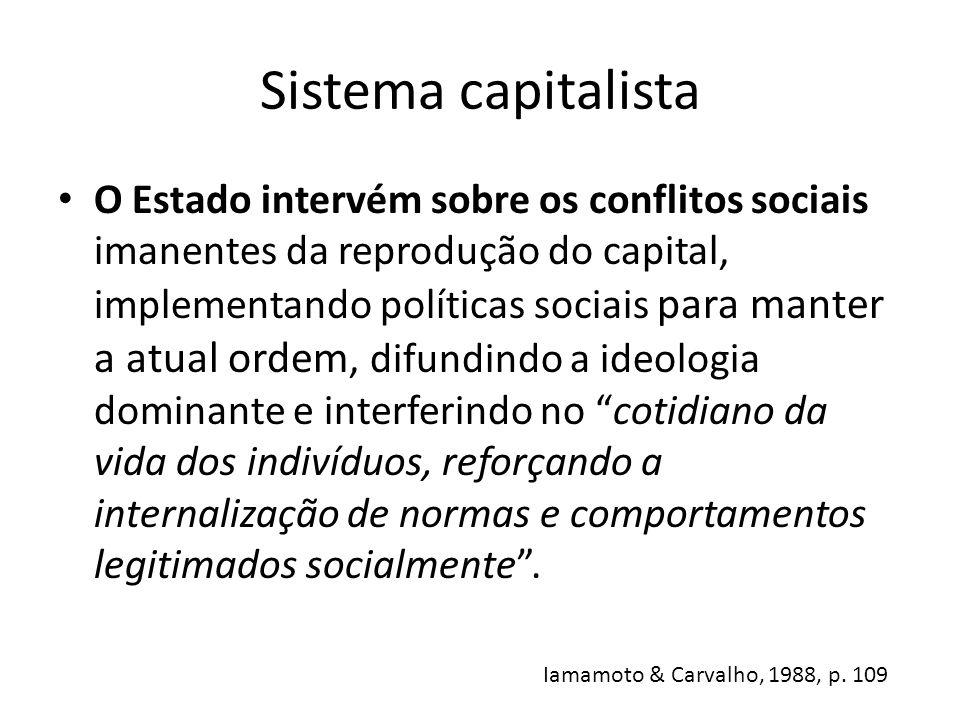 Sistema capitalista O Estado intervém sobre os conflitos sociais imanentes da reprodução do capital, implementando políticas sociais para manter a atu