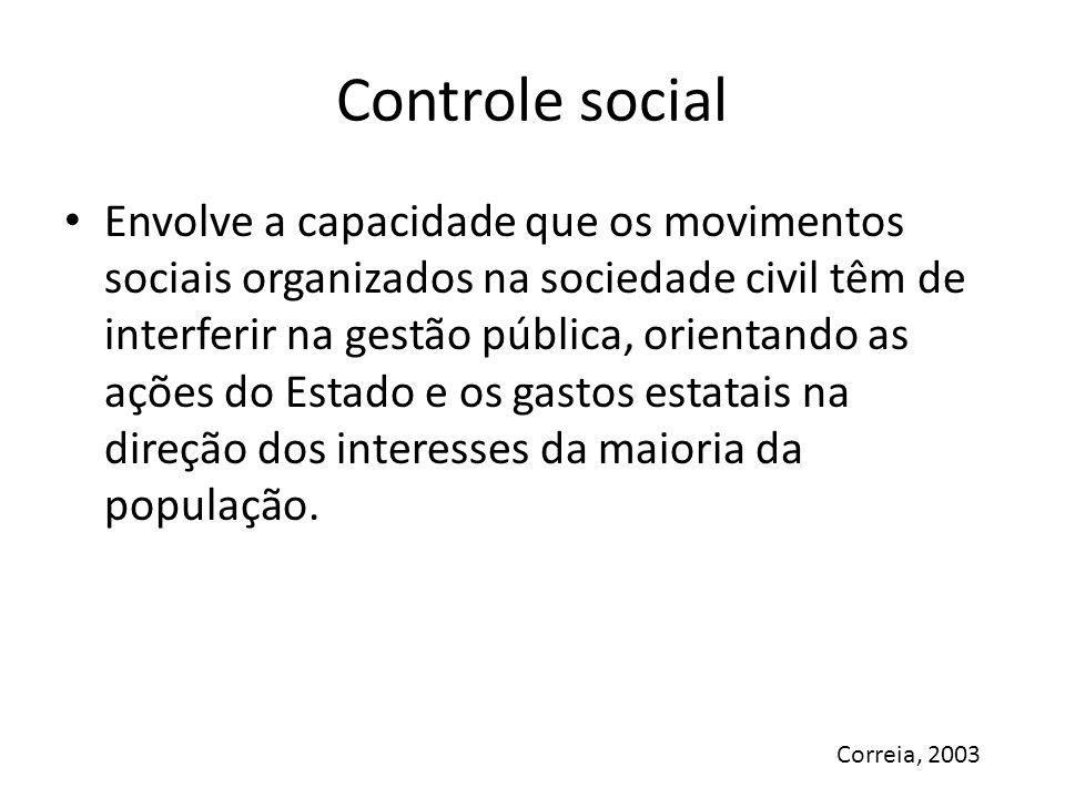 Controle social Envolve a capacidade que os movimentos sociais organizados na sociedade civil têm de interferir na gestão pública, orientando as ações