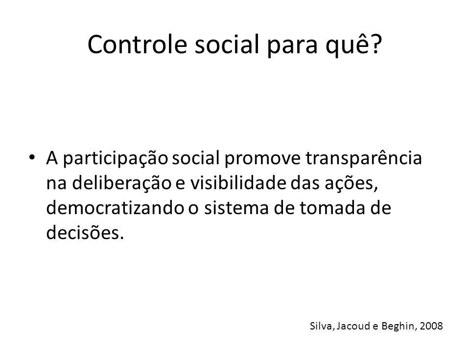 Controle social para quê? A participação social promove transparência na deliberação e visibilidade das ações, democratizando o sistema de tomada de d