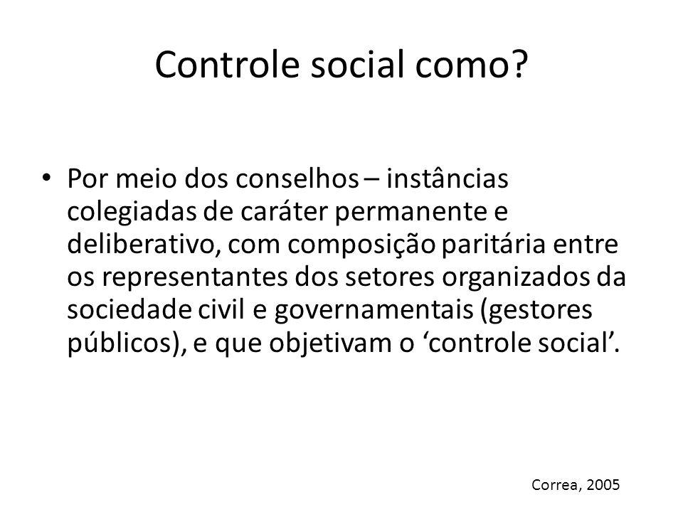Controle social como? Por meio dos conselhos – instâncias colegiadas de caráter permanente e deliberativo, com composição paritária entre os represent