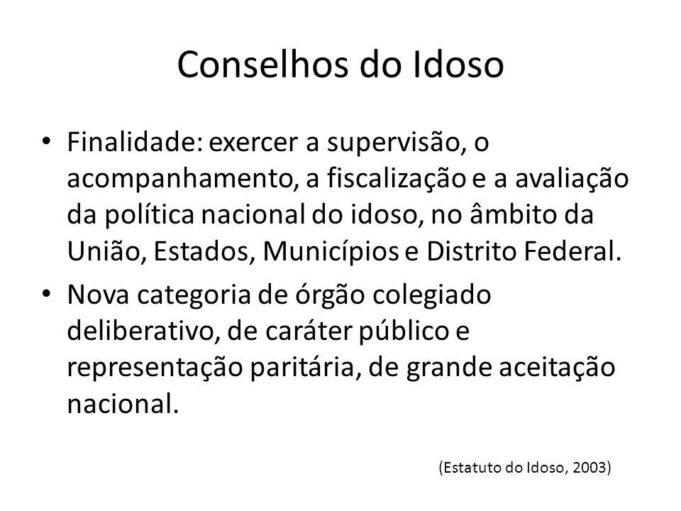 Conselhos do Idoso Finalidade: exercer a supervisão, o acompanhamento, a fiscalização e a avaliação da política nacional do idoso, no âmbito da União,