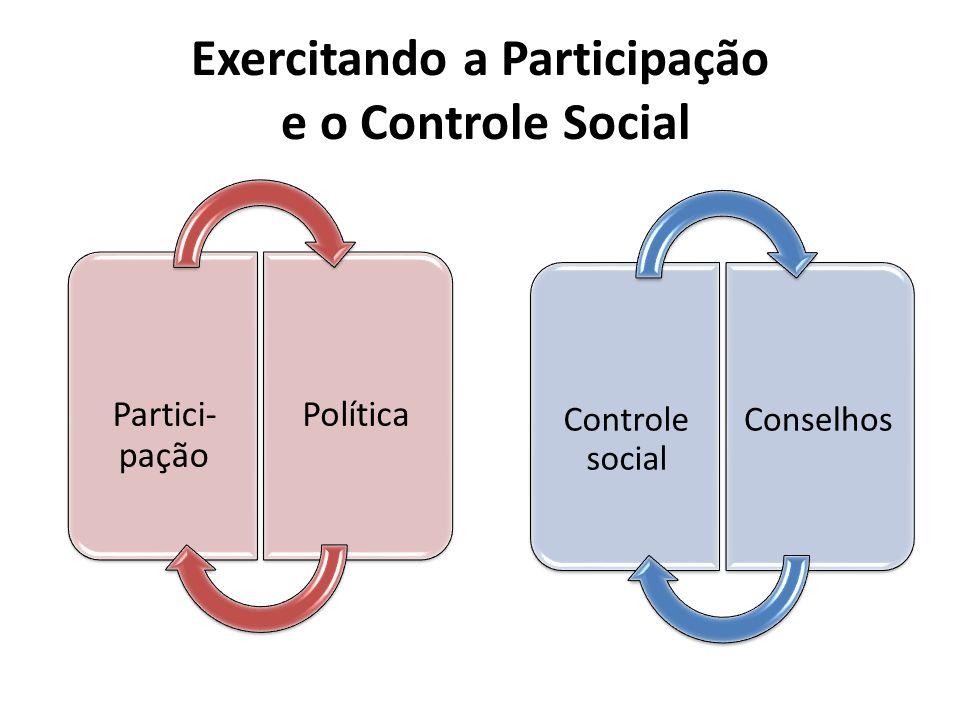 Partici- pação Política Exercitando a Participação e o Controle Social Controle social Conselhos