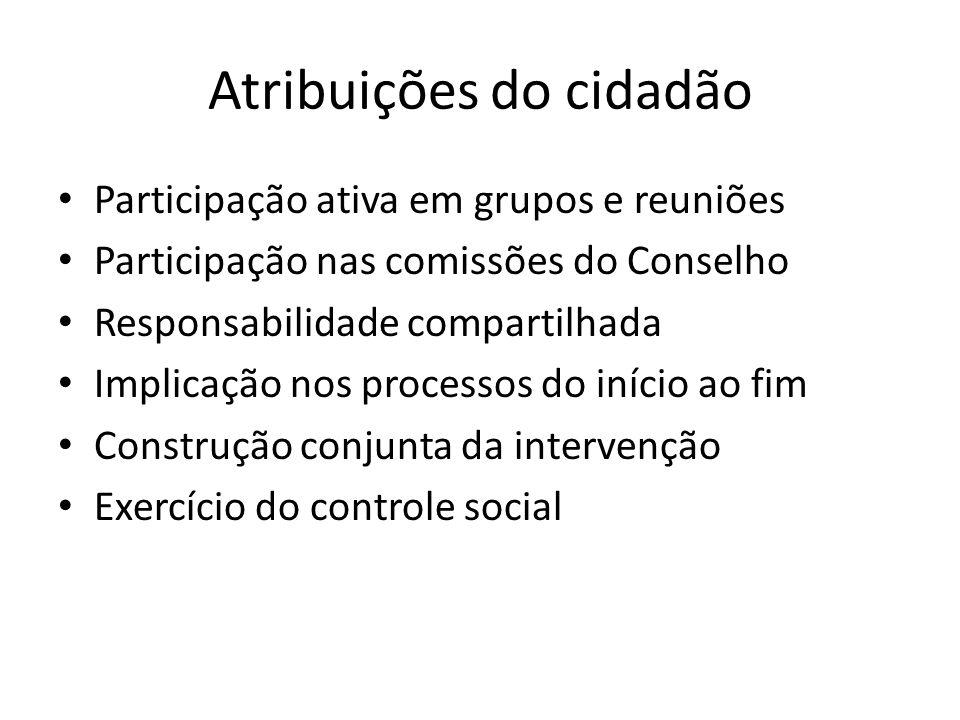 Participação ativa em grupos e reuniões Participação nas comissões do Conselho Responsabilidade compartilhada Implicação nos processos do início ao fi