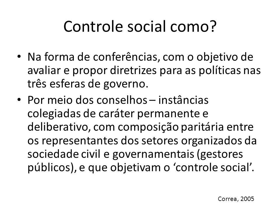 Controle social como? Na forma de conferências, com o objetivo de avaliar e propor diretrizes para as políticas nas três esferas de governo. Por meio