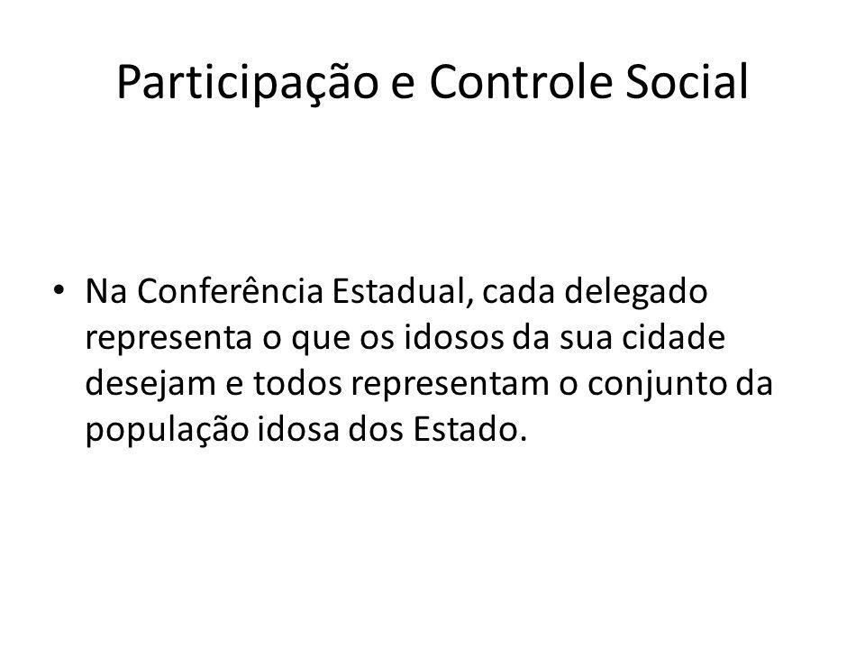 Participação e Controle Social Na Conferência Estadual, cada delegado representa o que os idosos da sua cidade desejam e todos representam o conjunto
