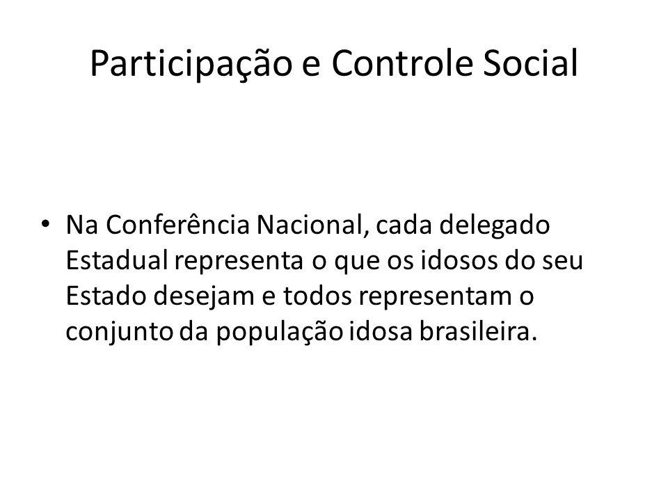 Participação e Controle Social Na Conferência Nacional, cada delegado Estadual representa o que os idosos do seu Estado desejam e todos representam o