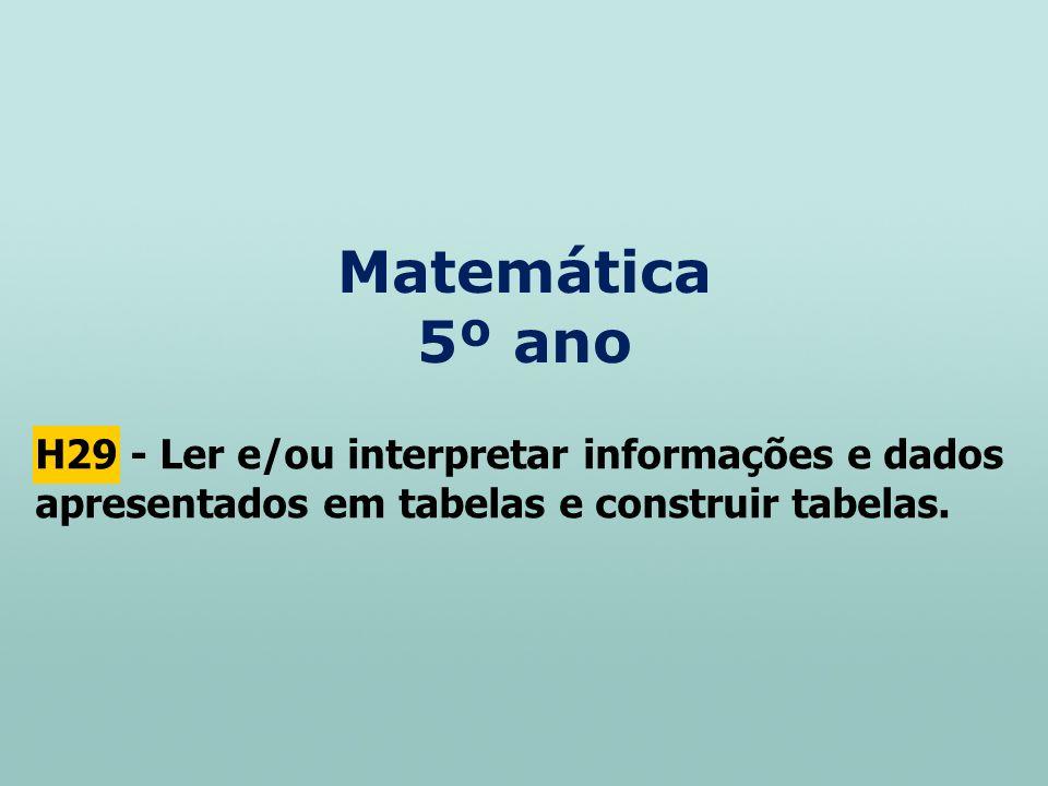 Matemática 5º ano H29 - Ler e/ou interpretar informações e dados apresentados em tabelas e construir tabelas.