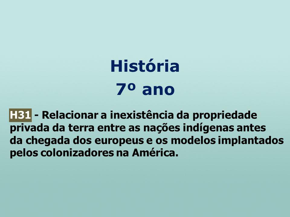 História 7º ano H31 - Relacionar a inexistência da propriedade privada da terra entre as nações indígenas antes da chegada dos europeus e os modelos i