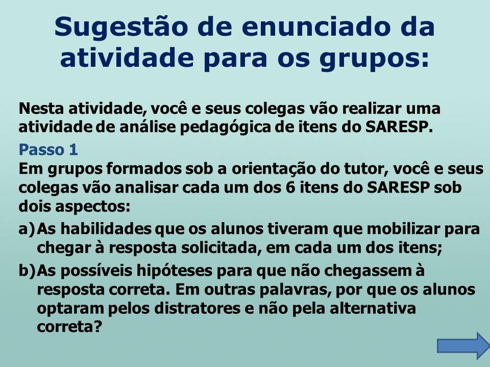 Nesta atividade, você e seus colegas vão realizar uma atividade de análise pedagógica de itens do SARESP. Passo 1 Em grupos formados sob a orientação