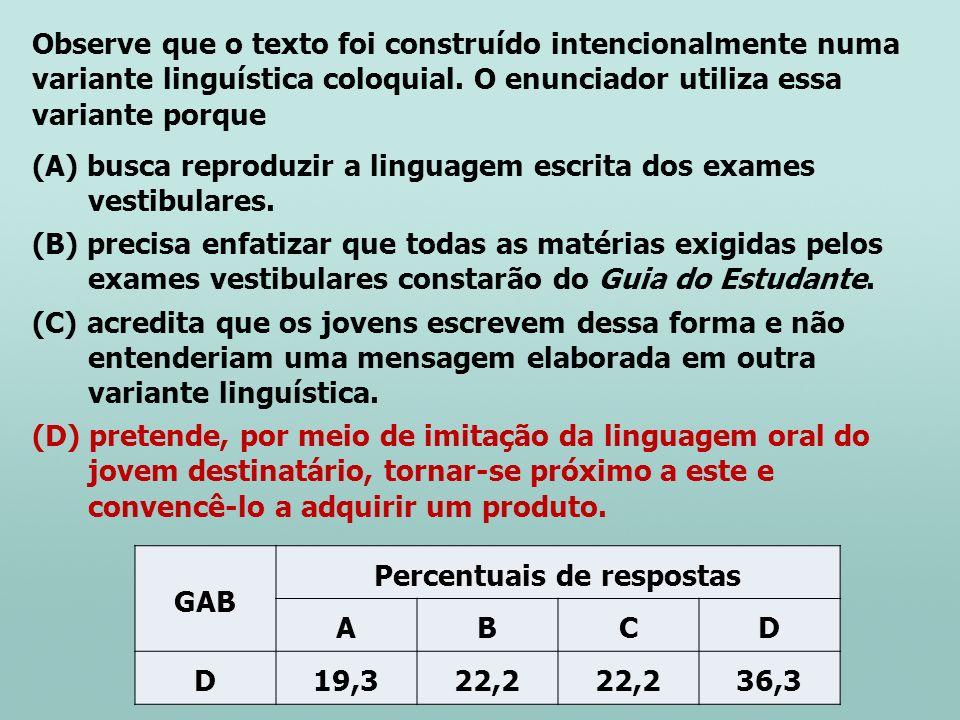 Observe que o texto foi construído intencionalmente numa variante linguística coloquial. O enunciador utiliza essa variante porque (A) busca reproduzi
