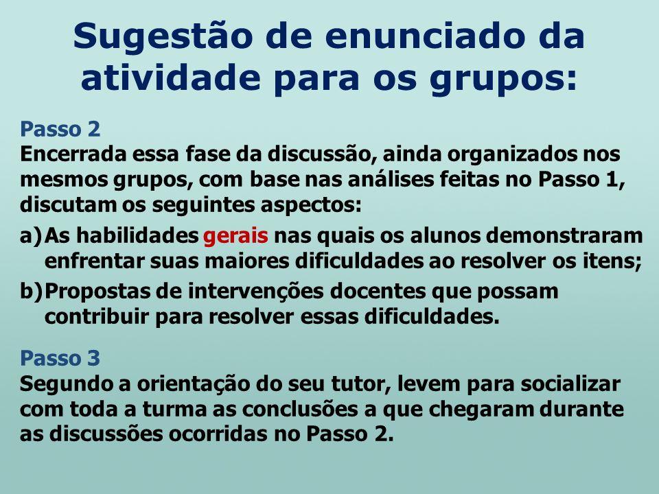 Passo 2 Encerrada essa fase da discussão, ainda organizados nos mesmos grupos, com base nas análises feitas no Passo 1, discutam os seguintes aspectos