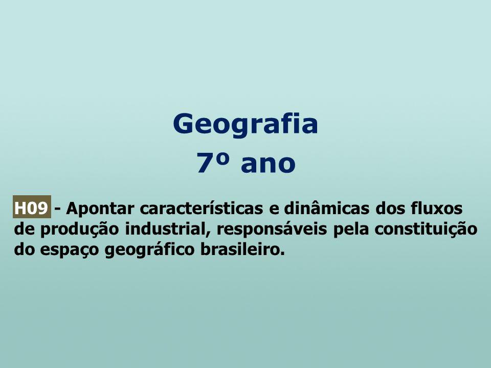 Geografia 7º ano H09 - Apontar características e dinâmicas dos fluxos de produção industrial, responsáveis pela constituição do espaço geográfico bras
