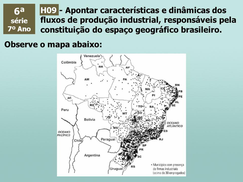 6ª série 7º Ano H09 - Apontar características e dinâmicas dos fluxos de produção industrial, responsáveis pela constituição do espaço geográfico brasi