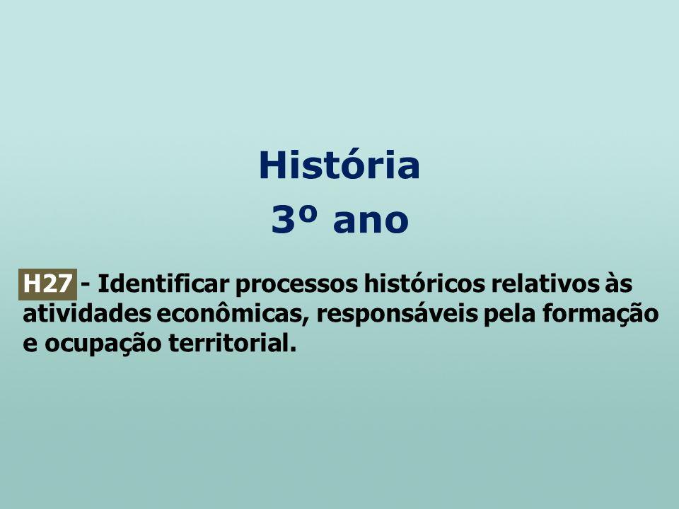 História 3º ano H27 - Identificar processos históricos relativos às atividades econômicas, responsáveis pela formação e ocupação territorial.