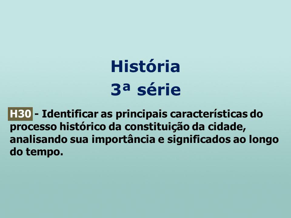 História 3ª série H30 - Identificar as principais características do processo histórico da constituição da cidade, analisando sua importância e signif