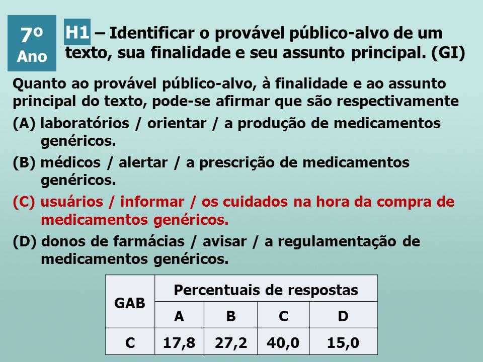 Quanto ao provável público-alvo, à finalidade e ao assunto principal do texto, pode-se afirmar que são respectivamente (A) laboratórios / orientar / a