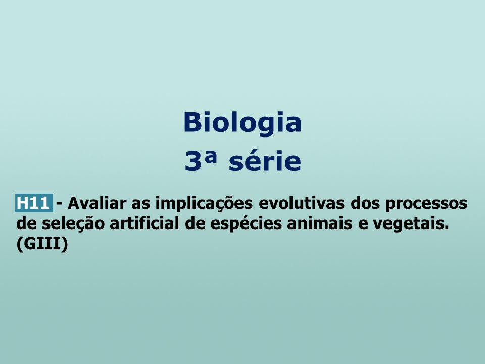 Biologia 3ª série H11 - Avaliar as implicações evolutivas dos processos de seleção artificial de espécies animais e vegetais. (GIII)